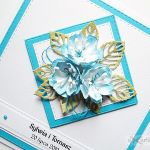 Kartka NA ŚLUB z niebieskimi kwiatami - Biało-niebieska karta ślubna z kwiatami