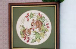 Wiewiórki - obrazek haftowany