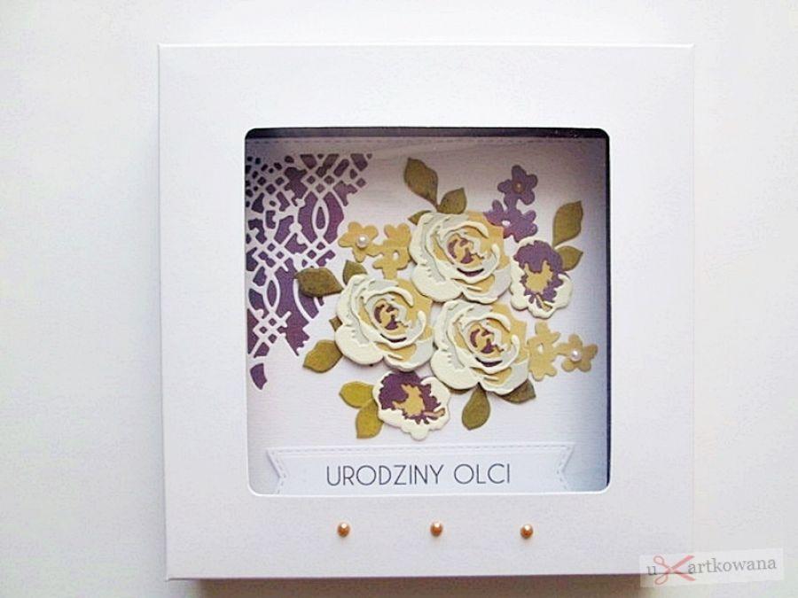 Kartka NA URODZINY kremowo-fioletowe róże - Kartka urodzinowa z kremowymi różami