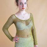 Bluzka szydełkowa butelkowa zieleń - Bluzka handmade