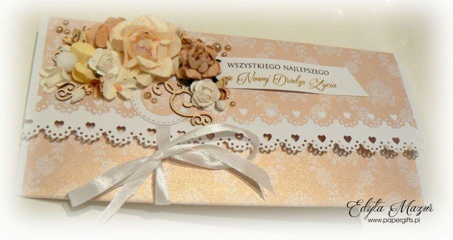 Kartka ślubna złota kopertówka na prezent - Ślubna kartka ze złotem