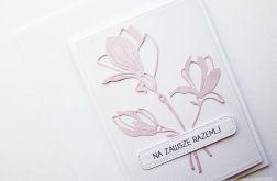 Kartka NA ŚLUB - jasnoróżowe kwiaty
