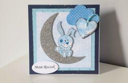 Kartka na Roczek niebieska królik księzyc nie