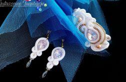 Biżuteria ślubna pudrowy róż komplet ślubny sutasz