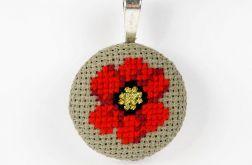 Naszyjnik czerwony, haftowany kwiat