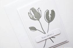 Kartka NA ŚLUB - szare kwiaty
