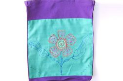 Boho torba na zakupy fioletowa z kwiatkiem