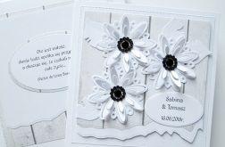 Kartka ŚLUBNA z białymi kwiatami