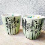 Zestaw doniczek ceramicznych - las -