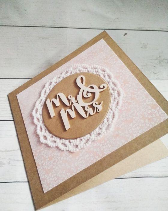Oryginalna rustykalna kartka ślubna Mr&Mrs