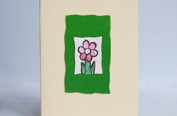 Kartka uniwersalna kremowa z kwiatkiem 6