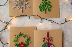 Zestaw 4 kartek świątecznych - Quilling