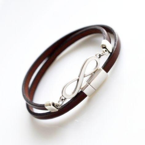 Bransoletka brązowa skóra 5mm - infinity