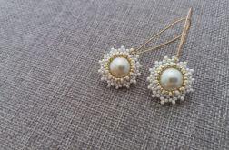 Kolczyki ecru z perłą