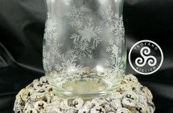 Świecznik grawerowany (płatki śniegu)
