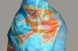 Ryby, ręcznie malowana jedwabna chusta