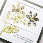 Kartka URODZINOWA beżowo-szare kwiaty - Kartka na urodziny z beżowo-szarymi kwiatami