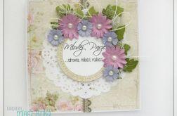 Delikatna kartka na Ślub z kwiatami 3