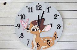 Zegar dla dziewczynki z jelonkiem Bambi