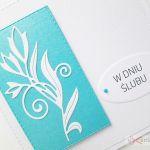 Kartka W DNIU ŚLUBU biało-turkusowa #1 - Pamiątka ślubu w bieli i turkusie