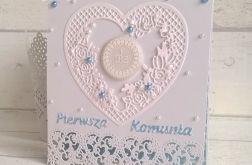 Kartka na komunię z sercem