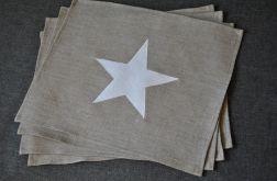 Podkładki pod talerze - lniane z gwiazdką - 4 szt.