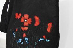 Duża torba worek na ramię ręcznie malowana