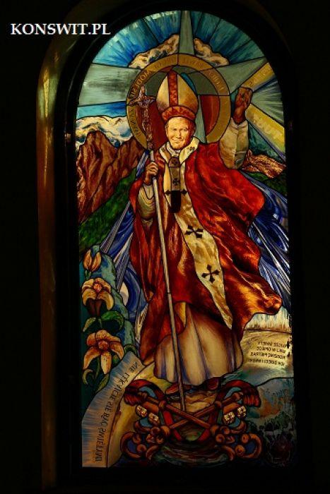 Witraże  sakralne figuralne - Św.Papeż Jan Paweł II