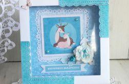Kartka urodzinowa z jelonkiem niebieska GOTOW