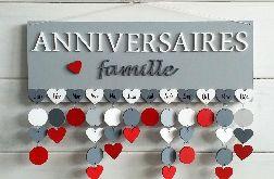 Kalendarz rodzinny, kalendarz urodzin, drewniany kalendarz, dowolne kolory i napisy 32