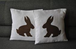 Poszewka lniana z dużym królikiem