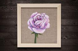 Kwiat róży namalowany na surowym płótnie