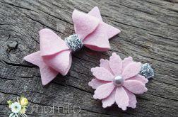 Spineczki do włosów srebrno różowe
