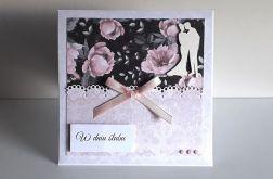 Kartka ślubna szaro-różowa para młoda czarna