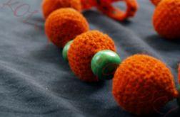 Szydełkowe pomarańczowo - zielone korale