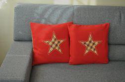 2 czerwone poszewki  filcowe - zimowe gwiazdki