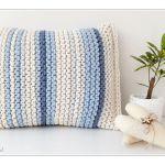 Poduszka Pasiak Blue - Poduszka ecru i niebieskości