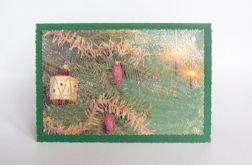 Zielona kartka świąteczna vintage -2