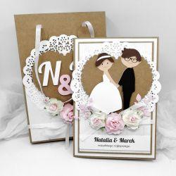 Śliczna Kartka na Ślub Eko różowa w torebce