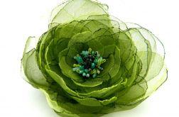 Broszka kwiat - zielony 10 cm