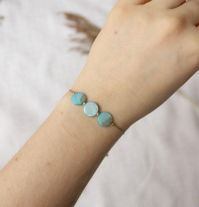 Komplet naszyjnik i bransoletka z turkusową masą perłową - Bransoletka na rękę z niebieską masą perłową