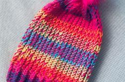 Neonowa czapka dziecięca dziewczęca pompon