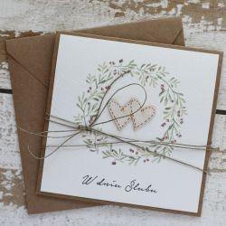 Rustykalna kartka ślubna S2