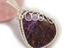 Purpuryt Srebrny wisior z purpurytem łezka