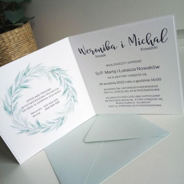 Zaproszenie ślubne z delikatnym wiankiem - akwarela04