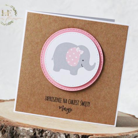 Zaproszenia na Chrzest różowy słoń + eko