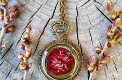 Naszyjnik w kolorze starego złota z różą
