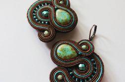 Brązowe kolczyki z turkusowymi dodatkami