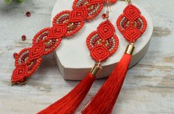 Czerwony komplet biżuterii z koralików