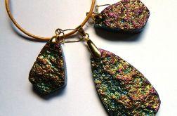 Tęczowy kryształ platerowany w złocie,zestaw
